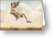 Child Greeting Cards - Flying Greeting Card by Joel Payne