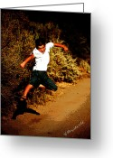 Kick Digital Art Greeting Cards - Flying Kick Greeting Card by Charles Benavidez