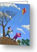 Brown Leaves Greeting Cards - Flying Kite On Windy Day Greeting Card by Martin Davey