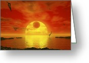 Red Dwarfs Greeting Cards - Flying Life Forms Grace The Crimson Greeting Card by Walter Myers