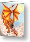 Sky.  Clouds Drawings Greeting Cards - Flying On A Dragon Greeting Card by Scarlett Royal