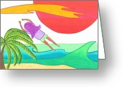 Jump Drawings Greeting Cards - Flying Over the Beach Greeting Card by Geree McDermott