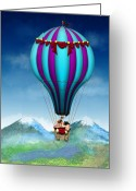 Hot Pink Custom Greeting Cards - Flying Pig - Balloon - Up up and Away Greeting Card by Mike Savad