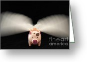 Suspicion Greeting Cards - Flying Pig toy with wings Greeting Card by Sami Sarkis