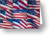 "\""old Glory\\\"" Greeting Cards - Flying Proud Greeting Card by Steve Gadomski"