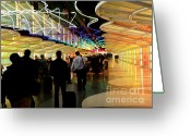 Airport Concourse Greeting Cards - Flying Through OHare - 2 Greeting Card by David Bearden