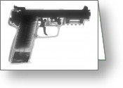 Firearms Photo Greeting Cards - FN 57 Hand Gun X-Ray Photograph Greeting Card by Ray Gunz