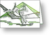 Jump Drawings Greeting Cards - Foal Geometry Greeting Card by JAMART Photography