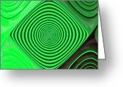 Horizontal Lines Digital Art Greeting Cards - Focus On Green Greeting Card by Carolyn Marshall