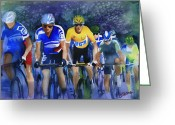 Tour De France Greeting Cards - Focus on Yellow Greeting Card by Shirley  Peters