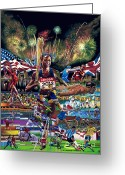 Sports Art Painting Greeting Cards - Focusing On Gold Greeting Card by Sean OConnor