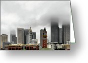 Tall Buildings Greeting Cards - Fog accents of Seattle WA Greeting Card by Christine Till