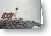 Portland Head Light Greeting Cards - Fog Approaching Portland Head Light Greeting Card by Dominic White