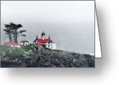Misty Greeting Cards - Fog comes rolling in - Battery Point Lighthouse - Crescent City CA Greeting Card by Christine Till
