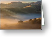 Wide Angle Photo Greeting Cards - Fog In Valley At Sunrise Greeting Card by Marc Crumpler