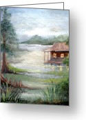 Trees Light Windows Greeting Cards - Fog on the Bayou Greeting Card by Elaine Hodges