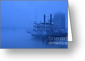 Mississippi River Scene Greeting Cards - Fog on the Mississippi Greeting Card by Jeanne  Woods