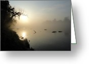 Arkansas Pyrography Greeting Cards - Fog on the White River Greeting Card by Heather Owen