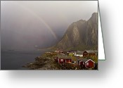 Gray Sky Greeting Cards - Foggy Hamnoy Rorbu Village Greeting Card by Heiko Koehrer-Wagner