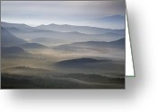 Mountains Photographs Greeting Cards - Foggy Morn on the Parkway Greeting Card by Rob Travis
