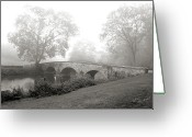 Antietam Greeting Cards - Foggy Morning at Burnside Bridge Greeting Card by Judi Quelland