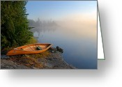 Minnesota Greeting Cards - Foggy Morning on Spice Lake Greeting Card by Larry Ricker