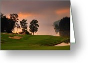 Sand Traps Greeting Cards - Foggy Morning Greeting Card by Steve Kraft