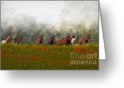 Cowboy Digital Art Greeting Cards - Foggy Morning Greeting Card by Susan Candelario