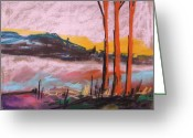 Colours Pastels Greeting Cards - Foggy Sunrise Greeting Card by John  Williams