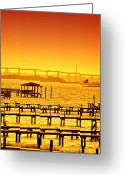 Water Scenes Greeting Cards - Foggy Sunset Greeting Card by Emily Stauring