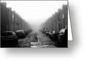 The Way Forward Greeting Cards - Foggy Terrace Greeting Card by Paul Downing