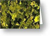 Abstract Greeting Cards - Foliage Greeting Card by Hema Rana