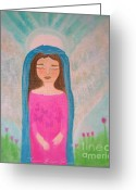 Guardian Angel Mixed Media Greeting Cards - Folk Angel The Gaurdian Greeting Card by Sacred  Muse