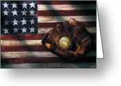 Baseball Game Greeting Cards - Folk art American flag and baseball mitt Greeting Card by Garry Gay