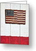 Flags Greeting Cards - Folk art American flag on wooden wall Greeting Card by Garry Gay