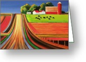 Barns Greeting Cards - Folk Art Farm Greeting Card by Toni Grote