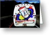 Gestures Greeting Cards - Follow that van Greeting Card by Cyryn Fyrcyd
