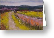 Flowers Pastels Greeting Cards - Follow the Daisies Greeting Card by David Patterson