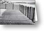 Winter Prints Greeting Cards - Follow the Fence Greeting Card by John Rizzuto