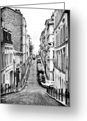 Cobblestone Street Greeting Cards - Follow the Road Greeting Card by John Rizzuto