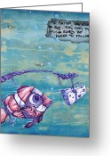 Sea Life Mixed Media Greeting Cards - Follow Your Cheesy Instincts Greeting Card by Iosua Tai Taeoalii