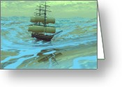 Sailboat Picture Greeting Cards - Following Sea Greeting Card by Corey Ford