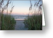Sea Oats Digital Art Greeting Cards - Folly Beach at Sunset Greeting Card by Melanie Snipes