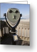 South Carolina Beach Greeting Cards - Folly Beach Pay Binoculars Greeting Card by Dustin K Ryan