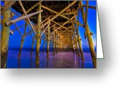 Paradise Pier Greeting Cards - Folly Beach Pier at Dusk - Charleston SC  Greeting Card by Drew Castelhano