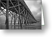 Grass Greeting Cards - Folly Beach Pier Black and White Greeting Card by Dustin K Ryan