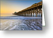 Vacation Destination Greeting Cards - Folly Beach Pier Charleston SC Coast Atlantic Ocean Pastel Sunrise Greeting Card by Dave Allen