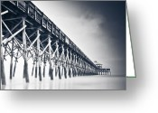 Ocean Pyrography Greeting Cards - Folly Beach Pier Greeting Card by Donni Mac