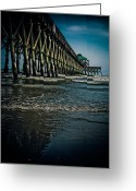 South Carolina Beach Greeting Cards - Folly Beach Pier Greeting Card by Jessica Brawley