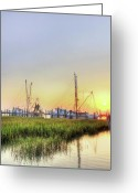 Low Country Greeting Cards - Folly Fishing Boats  Greeting Card by Drew Castelhano